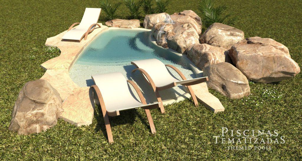 Render 3d de diseño de piscina moderna rústica con cascada y rocas artificiales.